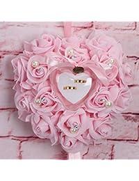 KINJOHI - Elegante Anillo de Boda con Forma de corazón, cojín de Oreja de Rosa, Caja de Anillo de satén Floral, Raso, Color 3, 25 x 25 x 14cm