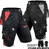 Cycle de Short de VTT Off Road de vélo Doublure Coolmax rembourrée pour homme Toutes les tailles, Homme, gris