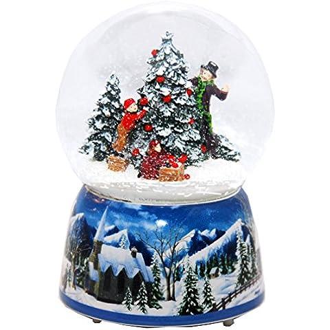 20011d Schneekugelhaus Snowglobe Bola de Nieve árbol de Navidad con Caja de Música Diámetro 100mm