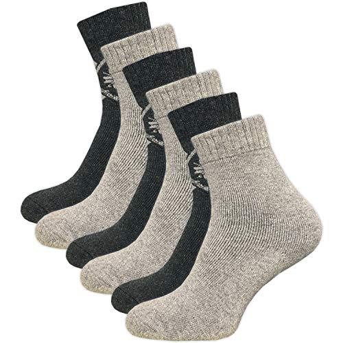 GAWILO 6 Paar warme Damen Winter Thermo Socken mit Wolle - Vollplüsch – super weich – weicher Abschlussbund – feine Zehennaht (35-38, grau/grau)