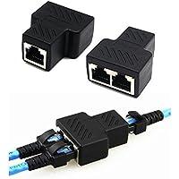 RJ45 Adaptateur Répartiteur convertisseur réseaux 1 à 2 port femmelle double CAT 5 / CAT 6 LAN connecteur Ethernet socket Splitter