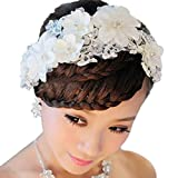 Ularma White Pearl Crystal Hairwear Bride Headdress Bridal Wedding Party Hair Decoration
