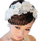 Ularma White Pearl Crystal Hairwear Bride Headdress Bridal Wedding Party Hair Decoration