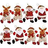 Albero di Natale Ornamenti di Bambole Ciondolo di Natale Ornamenti di Alce dell'Orso di Babbo Natale del Pupazzo di Neve per Decorazioni per La Casa per Le Vacanze (8 Pezzi)