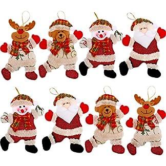 Blulu Adornos de Muñecos de Árbol de Navidad Colgantes de Navidad Adornos de Monigote de Nieve Papá Noel Oso Ciervo para Decoración de Hogar Fiesta