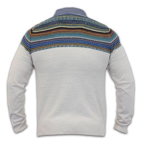 Kensington Dockside - Pull Homme Tricoté Kensington Encolure Carreaux Neuf Multicolore - Avoine