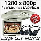 Reproductor de DVD para Coche DE 28 cm, montado en el Techo, Pantalla de Monitor con Pantalla USB