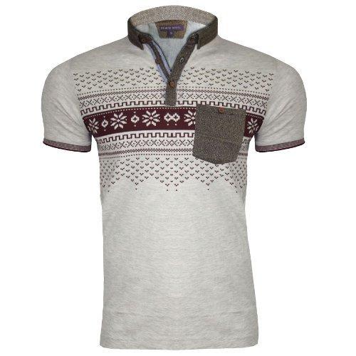 Herren Bravesoul Designer Tasche Sommer Kragen Kurz Ärmel Polo Shirt Wein Aztek MTS69 Eleazar - Markiert Designer