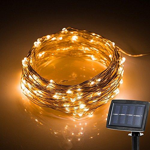 Xcellent Global (M 120 LED Wasserfest Solar Warm Wei? Kupferdraht Lichterkette f¨¹r Parties, Hochzeit Garten, Heim, Ladendekoration LD090