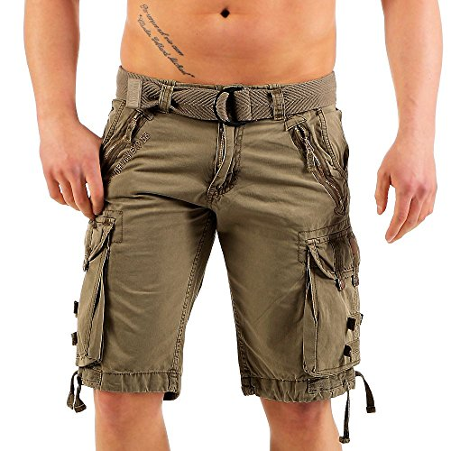 Geographical Norway Herren Cargo Shorts Pelegrino Canvas-Gürtel knielang khaki L