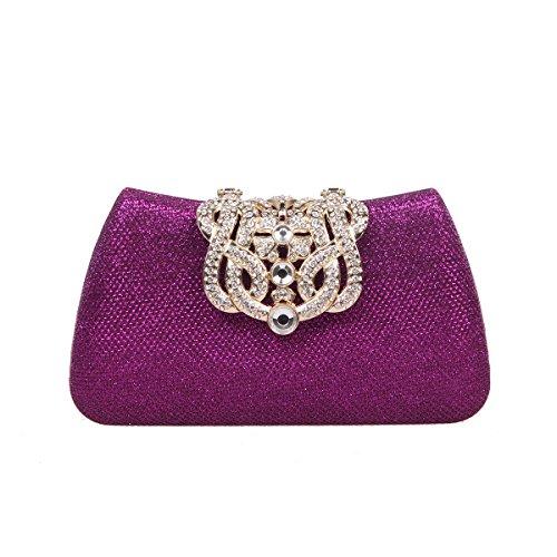 Bonjanvye Bling Crown Glitter Purse for Girls Evening Clutch Bags Blue Purple