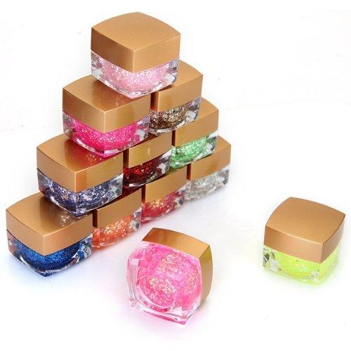 FACILLA® 12 Couleurs Paillettes Glitter Opaque Ongles UV Gel Manucure Nail Art Déco