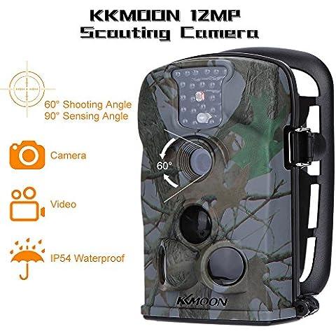KKmoon 12MP 720P Macchina Fotografica da Caccia HD 940nm IR 2.4inch Schermo a LED Videocamera di Esplorazione Fotocamera di Sicurezza con 8GB SD Card - Schermo Infield