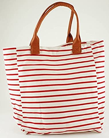 Cotton Bag Red / White Stripes with Leather-effect Handles 34cm x 30cm x 14cm