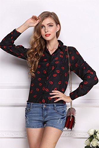 Façon Manches Longues Poche Boutonnée Boutons Devant Rouge Lip Kiss Imprimé Motif Mousseline Blouse Chemisier Shirt Chemise Haut Top Noir