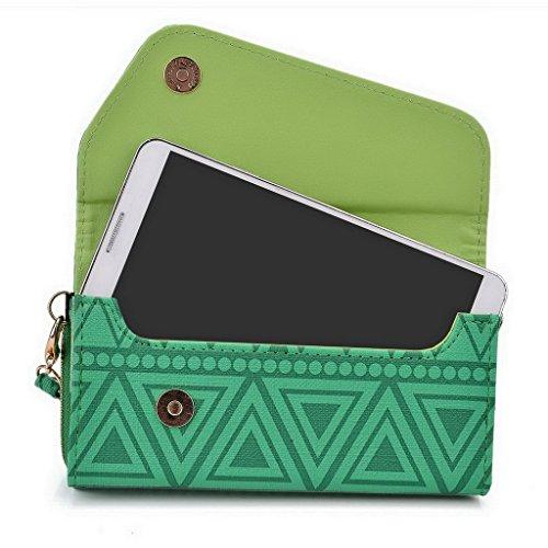 Kroo Tribal Style urbain pour téléphone portable Walllet embrayage adapté pour Sony Xperia Z2 multicolore Tan Brown vert
