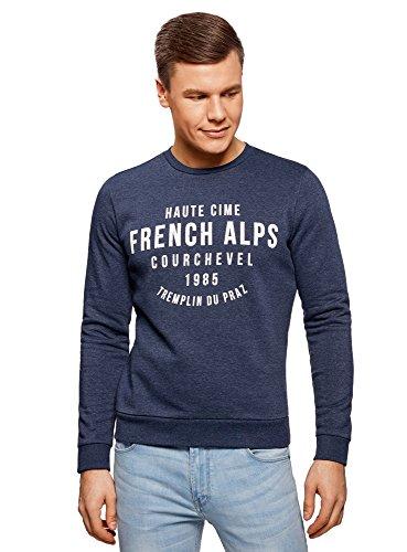 oodji Ultra Herren Gerades Sweatshirt mit Schriftzug Blau (7812P)