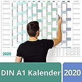 Wandkalender 2020 groß, 16 Monate (Nov '19 - Feb '21), Extra dickes Papier (150g/m²), DIN A1 (A4 gefalzt), Jahresplaner 2020, Jahreskalender 2020 Wandkalender