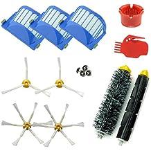 ASP-ROBOT® Recambios Roomba serie 600 610 620 621 630 650 651 655 660 661 PET. Filtro, cepillo lateral, rodillo central y accesorios. Pack repuestos. KIT recambio nuevo (3 x filtros, 2 x cepillos de 3 aspas, 2 x cepillos de 6 aspas, 1 x pack de cepillos centrales, 1 x herramienta limpieza cepillos, 1 x herramienta limpieza rodillos)
