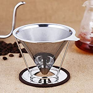 Coffee Filter,Zetong Sainless Steel Permanent Coffee Filter Reusable Filter for 4 Cups