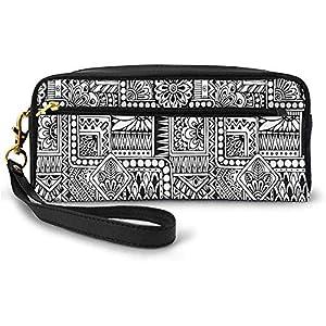 Diseño étnico con Algunas Formas geométricas con Hojas y Puntos Cultura Africana Pequeña Bolsa de Maquillaje Estuche de lápices 20cm * 5.5cm * 8.5cm