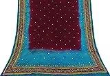 Vintage Lila gestickte Dupatta Gebrauchte Schal reine Seide