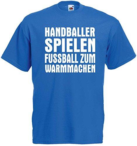 Handball Herren T-Shirt Handballer Spielen Fussball zum Warmmachenroyalblau-XXL