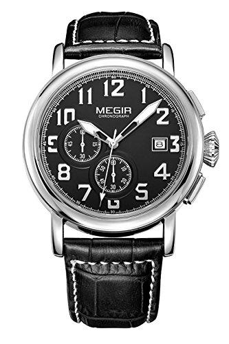 Megir montre homme chronographe cuir noir Marron Quartz Analogique Luxe Mode