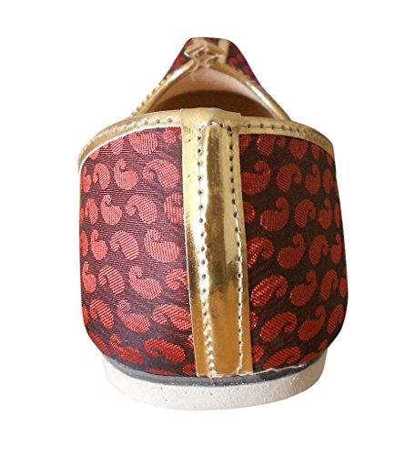 KALRA Creations Herren Schuhe Traditionelle Seide indischen Slipper Kastanienbraun