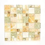 Fliesen Mosaik Mosaikfliese Gold Glas Stein glänzend Küche Bad WC 8mm Neu #648