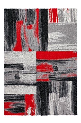 Sona-Lux Teppich modern Handgecarved 3D Juterücken Rot Schwarz Grau Elfenbein Größe wählen 80 x 150 cm - Schwarz Elfenbein Teppich