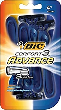 Bic Comfort 3 Advance Shaver, Disposable 4 ea (Pack of 3)