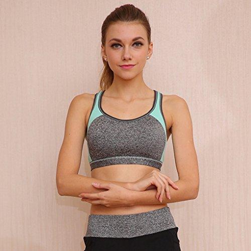Wenyujh Femme Soutien-Gorge Sport Bicolore Résistant aux Chocs Brassière Yoga Gym Fitness Musculation Bleu