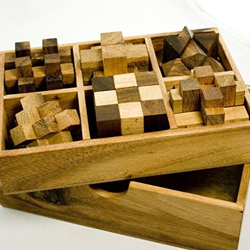 IQ MASTER - 6 juegos de ingenio en madera noble – Estándar – Caja de juegos de paciencia – Idea de regalo para hombres, mujeres y niños – Jueguetes de madera de 6 piezas – Para fanáticos del ingenio