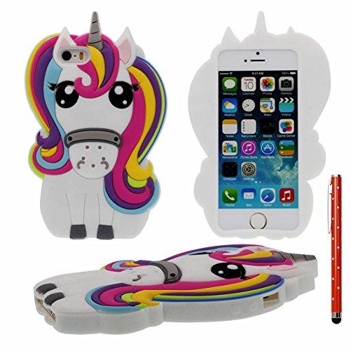apple-iphone-5-5s-se-coque-case-beau-3d-cartoon-cheval-forme-design-doux-clair-silicone-gel-anti-cho