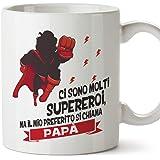 Mugffins Tazza papà (Miglior Padre del Mondo) - Ci Sono Molti Supereroi - Idee Regali Originali Festa del papà