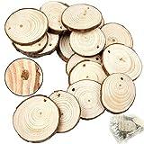 20 Stücke 4-5cm Holzscheiben Hochzeit Unvollendet vorgebohrte Natürliche Holz Log Scheiben Scheiben für DIY-Handwerk mit Weihnachten Ländliche Hochzeit Ornamente