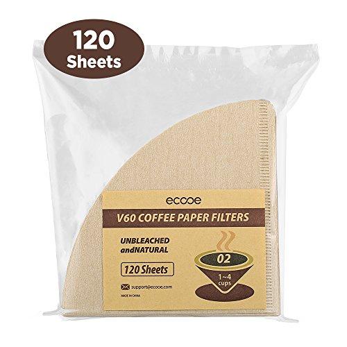 Ecooe 120-Stuks V60–02Papierkaffeefilter Kaffeefilter Papierfilter Kaffeefiltertüten, Natuurlijke Koffie-kegelfilter (Extrahieren Sie Natürlich)