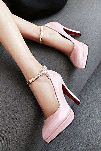 Aisun Femme Mode Bout Pointu Boucle Métallique Escarpins Rose