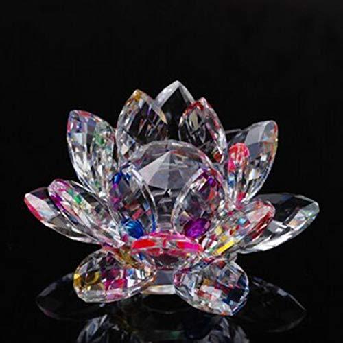 Candyboom Creativo Loto de Cristal de Cristal Figura Pisapapeles Ornamento Decoración Colección Salón Adornos de Escritorio Decoración para el hogar