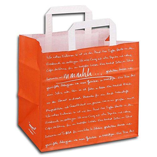 Wertpack 250x Konditortragetaschen mmmhh, Papiertüten, Orange/Weiß, 260 + 170 x 250 mm