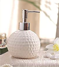 Designer dots Carved Ceramic Liquid Soap Dispenser. (1 Piece) (Material: Ceramic & Plastic, Colour: White)