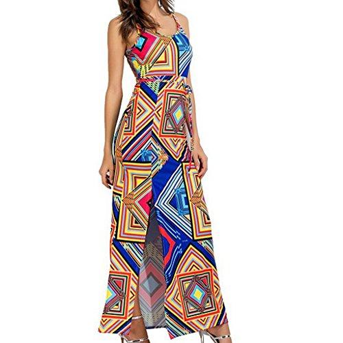 MagiDeal Vestito Lunghe Abiti Gonne di Cotone Abbigliamento per Donna Blu