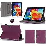 Housse Samsung Galaxy Tab 4 10.1 pouces 16/32 Go violette (Wifi/3G/4G/LTE) Ultra Slim Cuir Style avec multis stand - Etui luxe coque de protection Samsung Galaxy Tab 4 10 violet SM-T530/T535 - Accessoires pochette XEPTIO : Exceptional case !