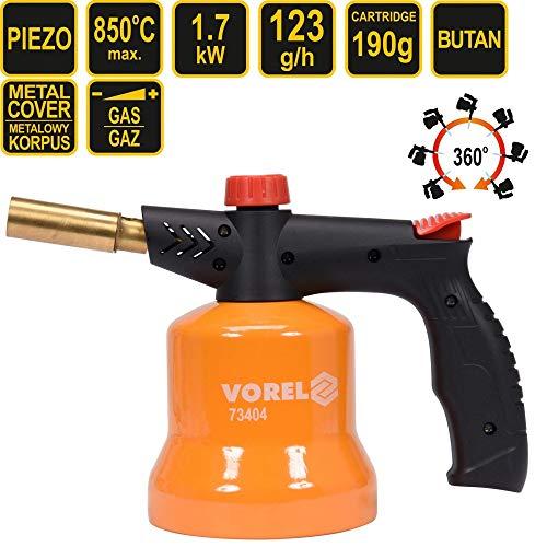Vorel Gaslötlampe mit Piezo-Zündung | 850°C | für 190g-Kartuschen | Lötbrenner Gasbrenner Bunsenbrenner