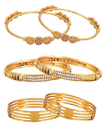 Sitashi 18 K Gold Plated Alloy Fashion Jewelry Bangles Combo of 3 Set For Girls & Women