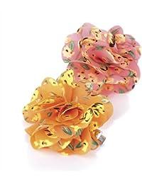 Pair of Neon Orange and Pink Floral Print Soft Ruffled Flower Hair Beak Clips Fascinator