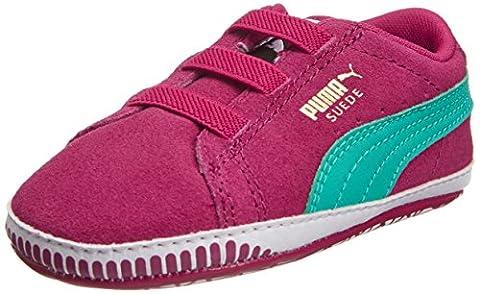 Puma Suede Crib, Baskets mode mixte bébé - Rouge (Cerise/Pool Green), 16 EU