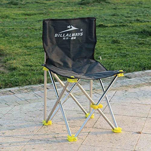 Dszgo Große zusammenklappbare Edelstahl Freizeit Angeln Stuhl Outdoor Angeln tragbare Falten perfekt für Camping Festivals Garten Caravan Trip Angeln Strand BBQs
