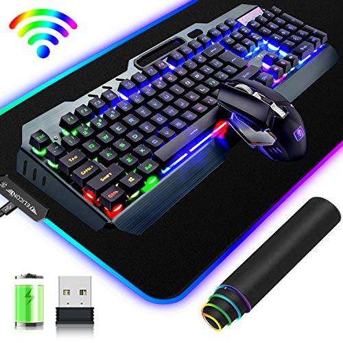 Kabelloses 2,4-G-Gaming-Tastatur- und Maus-Set, 3800 mAh, schnelle Aufladung, Regenbogen-LED-Hintergrundbeleuchtung + 2400 DPI, 7 Farben, atmungsaktive leichte Maus + großes RGB-Gaming-Mauspad